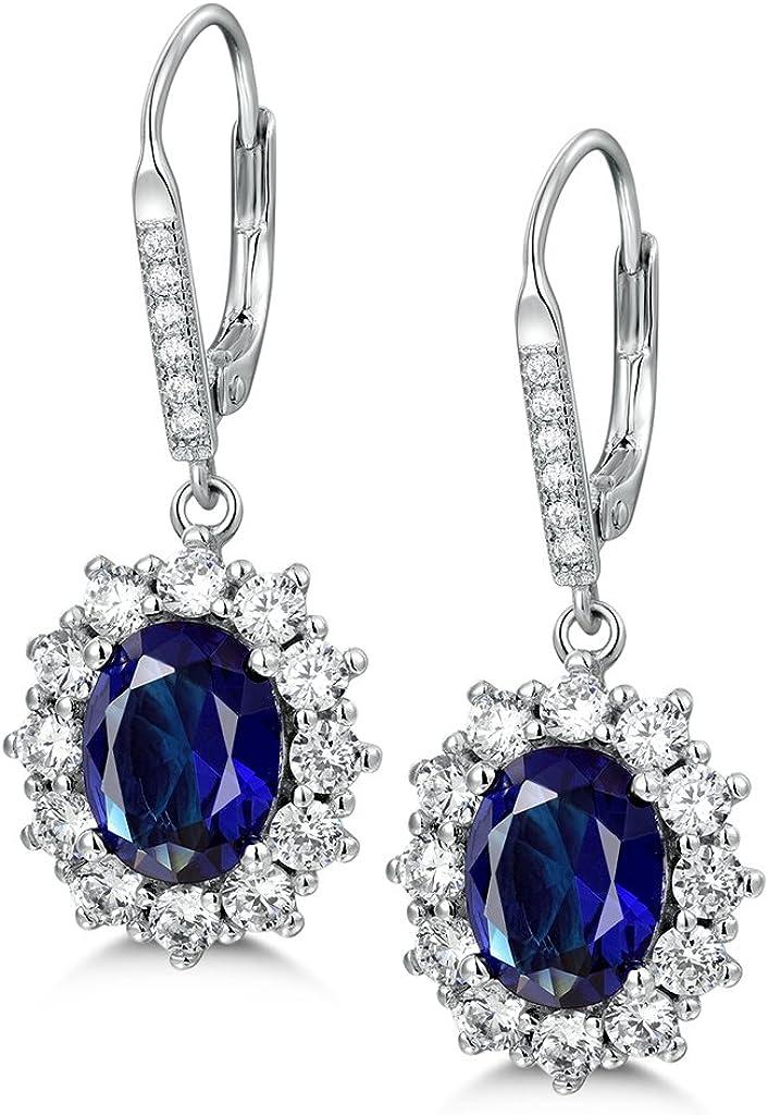Pendientes de plata de ley 925 Masop con zafiro azul, diseño de gota, estilo Princesa Diana, Kate Middleton