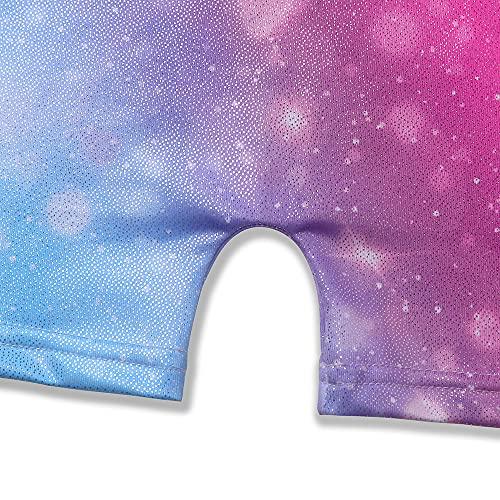 rainbow girls gymnastics leotards with shorts size 6-7 aqua blue pink gold purple yellow multicolored colorful biketards