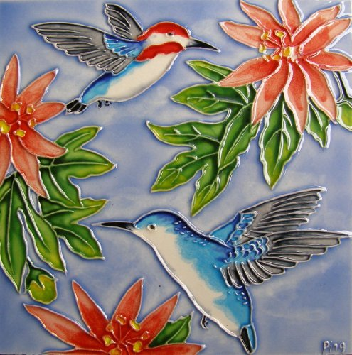 Continental Art Center BD-2178 8 by 8-Inch Two Hummingbird with Red Flower Ceramic Art (Hummingbird Tile)