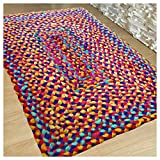 Hand Woven Multi Chindi Rug for Kitchen-Livingroom-Bedroom – 2 X 3 feet (2 X 3, Multicoloured Chindi) For Sale