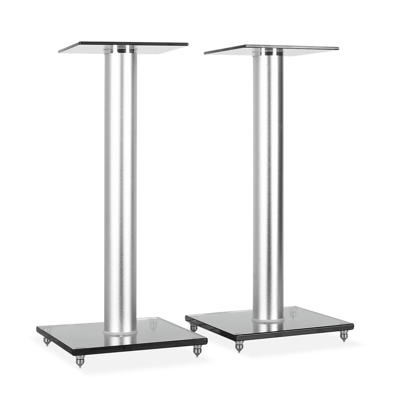 Electronic star BS58 • Lautsprecher Ständer • Boxen Ständer • Lautsprecher Sockel • getöntes Sicherheitsglas • Aluminium • fester Stand • stabil • max. Gewicht   10 kg • grau-silber