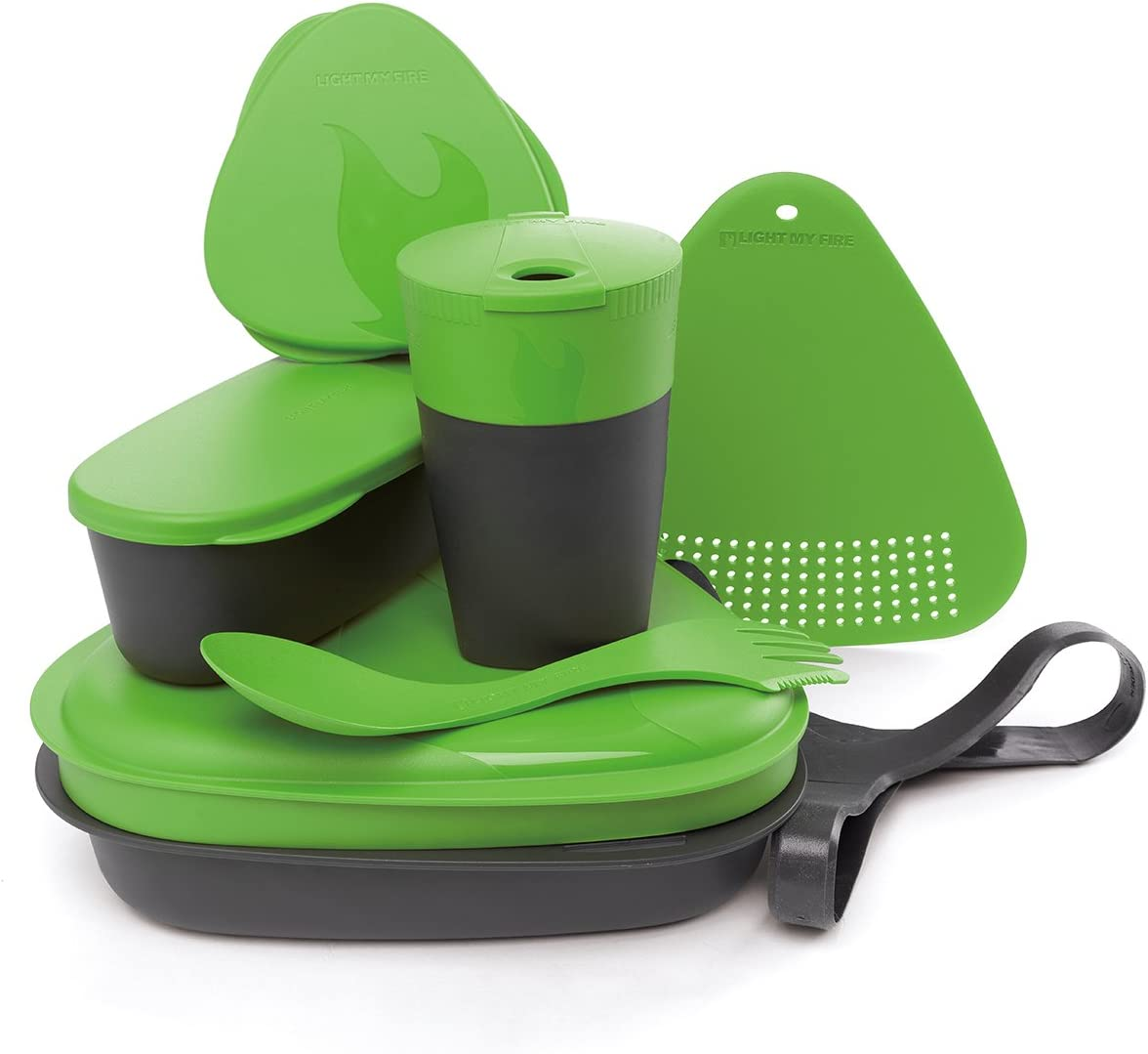Spork and More Cutting Board Light My Fire 8-Piece BPA-Free Meal Kit 2.0 with Plate Cup Bowl