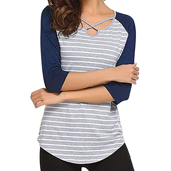 Amazon.com: NREALY Womens Tops Casual O-Neck Stripe Three Quarter Sleeve T-Shirt Blouse Tee: Clothing