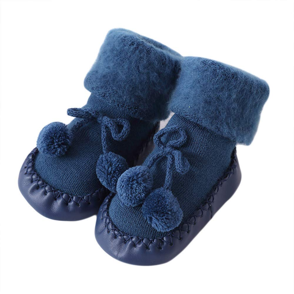 Baby Floor Socks, Inkach Kids Anti-Slip Floor Socks Toddler Soft Bottom Booties Slipper Shoes (0-6 Months/Tag:11, Blue)