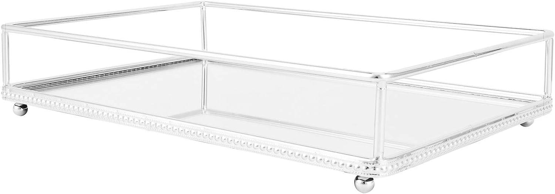 12 x 8 Zoll CHICIRIS Silber Spiegel Tablett Schmuck Organizer Vanity Tray Schmuck Tablett Parf/üm Tablett Dekorative Tablett Metall Make-up Tablett f/ür Badezimmer Schlafzimmer Kosmetik Lagerung