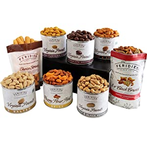 FERIDIES Tasteful Treasures Virginia Peanut, Confection, Snack and Trail Mix Happy Holidays Gift Assortment -