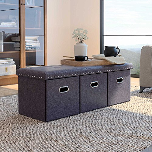 Classic 3 Seat - Nathan James 72202 Payton Foldable Ottoman Entry Foot Rest, Bench, Gray