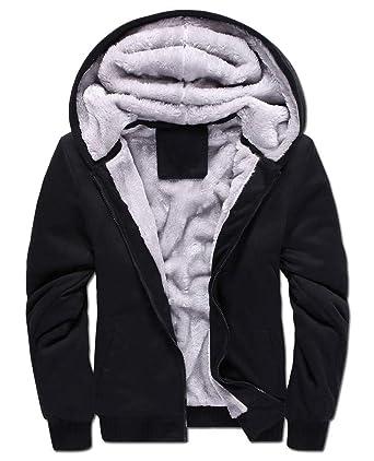 d90c83d79 Yasong Men Teenager Zip up Thick Padded Lined Fleece Hoodies Sweatshirt  Jacket Overcoat: Amazon.co.uk: Clothing