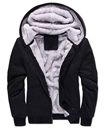 17d21d5d910 Yasong Men Teenager Zip up Thick Padded Lined Fleece Hoodies Sweatshirt  Jacket Overcoat  Amazon.co.uk  Clothing
