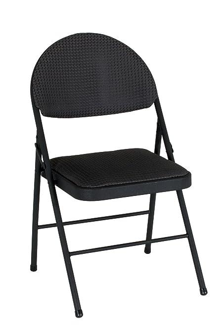 COSCO XL Comfort Folding Chair Black Fabric (4 Pack)