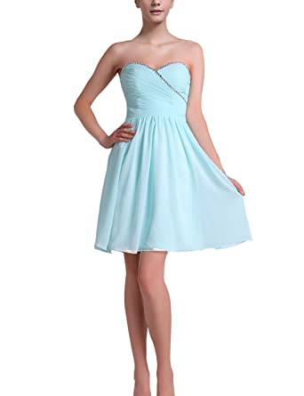 Fanciest Womens Sweetheart Chiffon Short Bridesmaid Dresses Prom Gowns Blue: Amazon.co.uk: Clothing