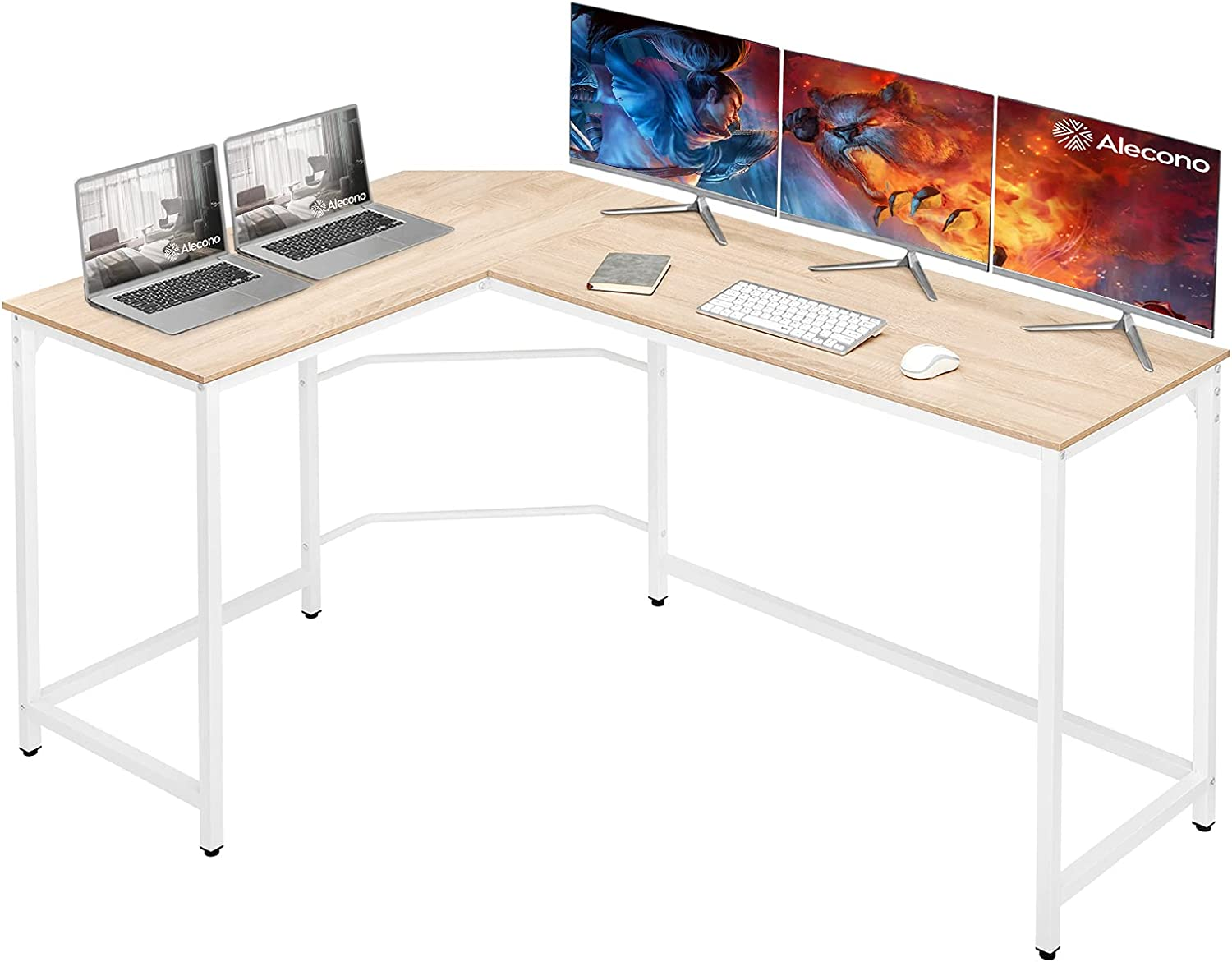 Alecono L Shaped Desk 62 inch Corner Computer Gaming Desk with Large Desktop,Enough legroom Home Office Desk Thicker Steel Structure Sturdy Workstation Table Easy to Assemble and Clean,Oak and White