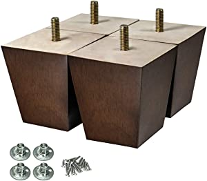AORYVIC Wood Furniture Legs 3 inch Sofa Legs Pack of 4 Square Couch Legs Brown Mid-Century Modern Replacement Legs for ArmchairRecliner Coffee Table Dresser Sideboard (3 inch)