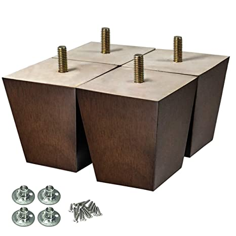 AORYVIC Wood Furniture Legs 3 inch Sofa Legs Pack of 4 Square Couch Legs Brown Mid-Century Modern Replacement Legs for ArmchairRecliner Coffee Table ...