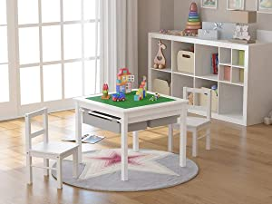 UTEX 2-in-1 Kids Multi Activity Table and 2 Chairs Set with Storage (White)