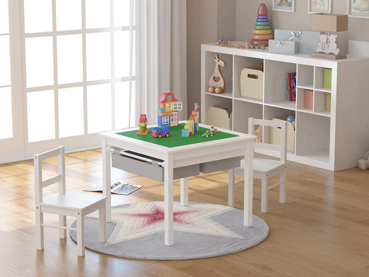 UTEX 2-in-1 Kids Multi Activity Table and 2 Chairs Set with Storage (White) by UTEX