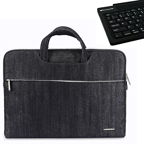 Price comparison product image Denim 15'' Briefcase Handbag Sleeve Bag for Laptops / Notebooks / Tablets / E-reader + SumacLife Wireless Bluetooth Keyboard