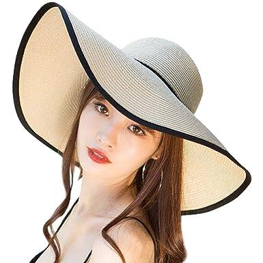 5e2f1ac6b1344 DRESHOW Sombrero de paja de ala ancha para mujer Floppy plegable Gorra de playa  Sombrero para el sol de playa UPF 50+  Amazon.es  Ropa y accesorios
