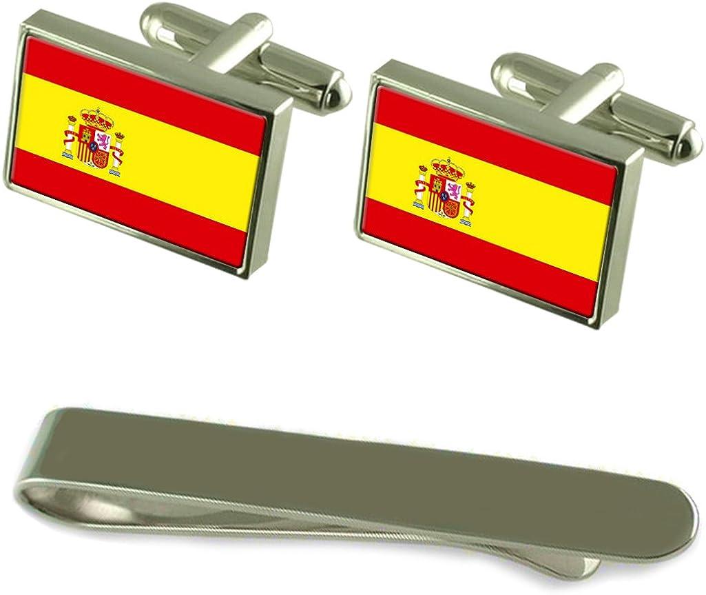 Select Gifts Bandera España Gemelos Plata Clip Grabado Set de ...