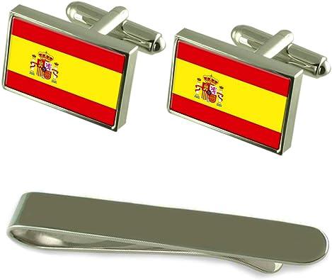 Select Gifts Bandera España Gemelos Plata Clip Grabado Set de Regalo: Amazon.es: Joyería