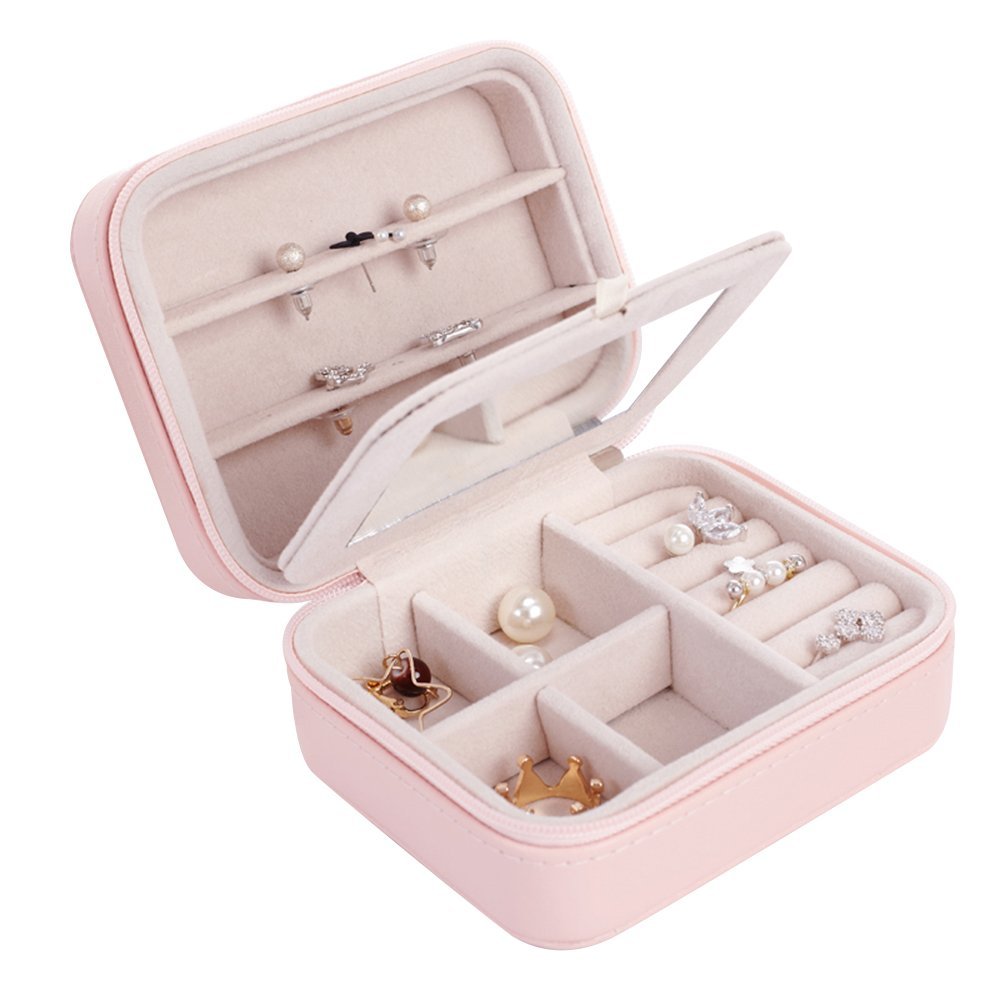 Travel Jewelry Organizer Box and Jewelry Accessories for Necklace Earrings Rings in Faux Leather and Display with Mirror Pink color