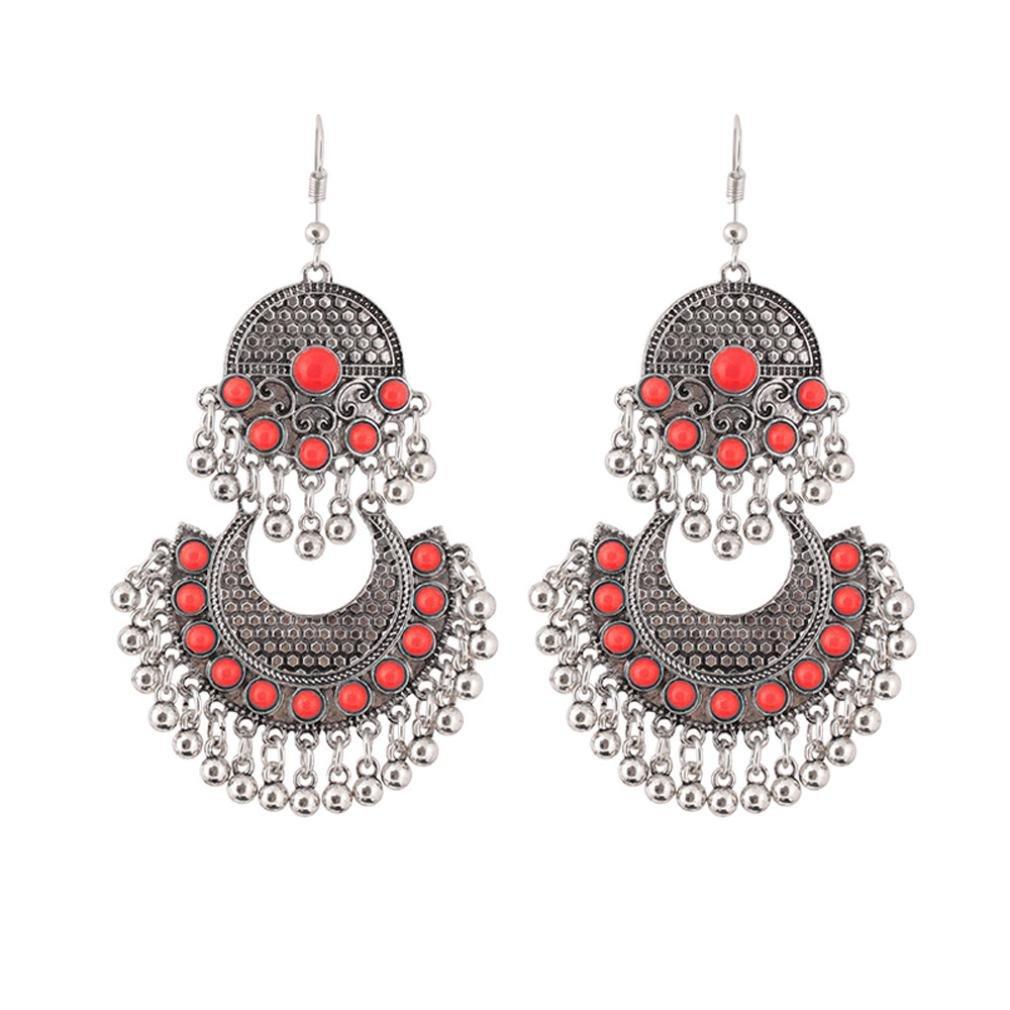 RTYou Simple Earrings,Retro Vintage Bohemian Tassel Drop Earrings Turquoise Ethnic Style Dangle Earrings For Women (B)