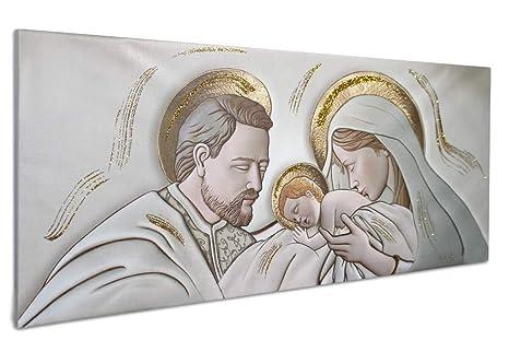 Vetrineinrete® Quadro su tela con sacra famiglia natività per capezzale  quadri sacri per camera da letto con telaio in legno decorato con ...