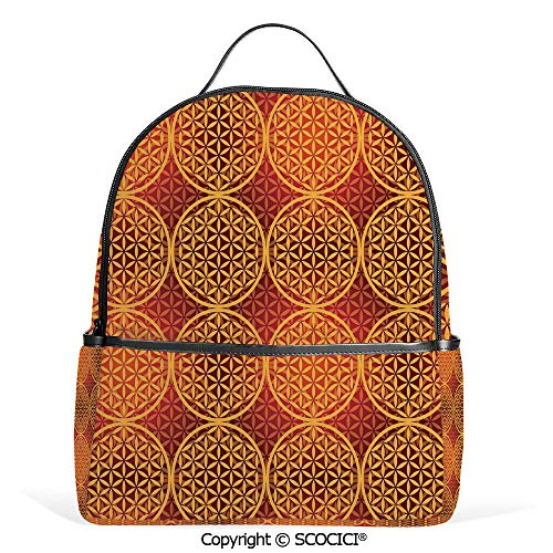 Lightweight Chic Bookbag Vintage Style Flower Medieval Tones Rococo Baroque Esoteric Motif Decorative,Mustard Orange,Satchel Travel Bag Daypack ()