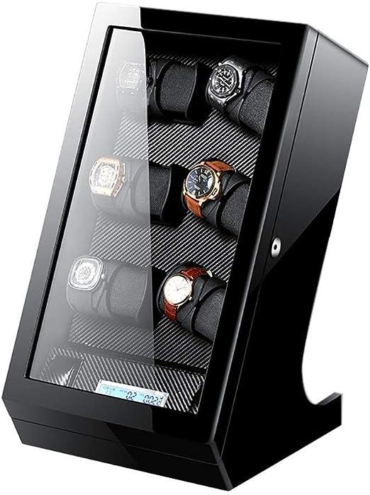 GUOOK Devanadera Reloj Relojes AutomáTicos 12 + 2 Caja Almacenamiento con Pantalla TáCtil LCD Madera Negra: Amazon.es: Hogar