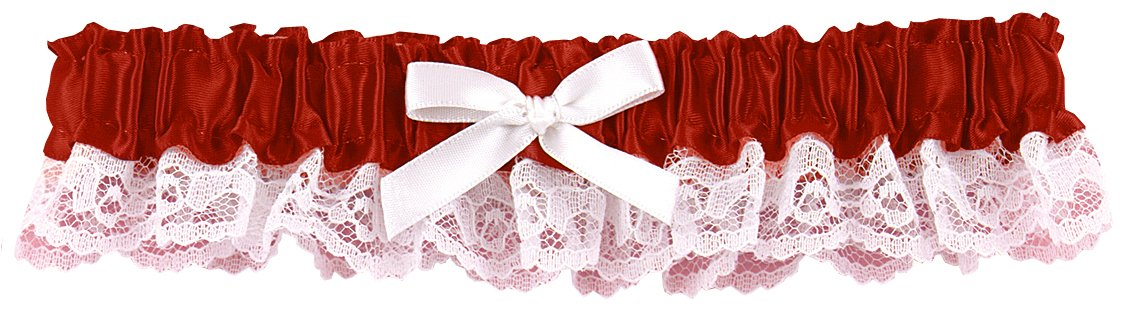 Hortense B. Hewitt Wedding Accessories Ribbon and Lace Garter, Red 73004