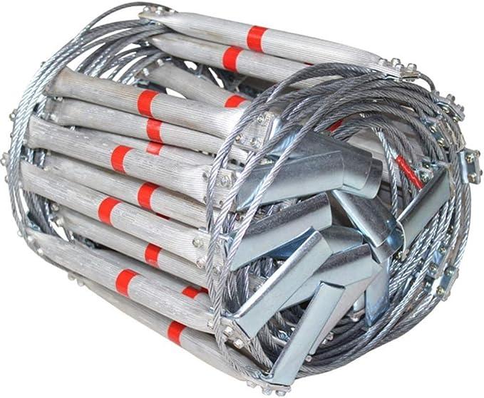 Escalera Cuerda Escape Incendios Escalera De Cuerda De Escape Rescate De Emergencia Seguridad Aleación Aluminio Anillo Alambre De Acero Gancho De Rodamiento Peso 500 Kg Escapar De La Ventana Balcón,5m: Amazon.es: Deportes