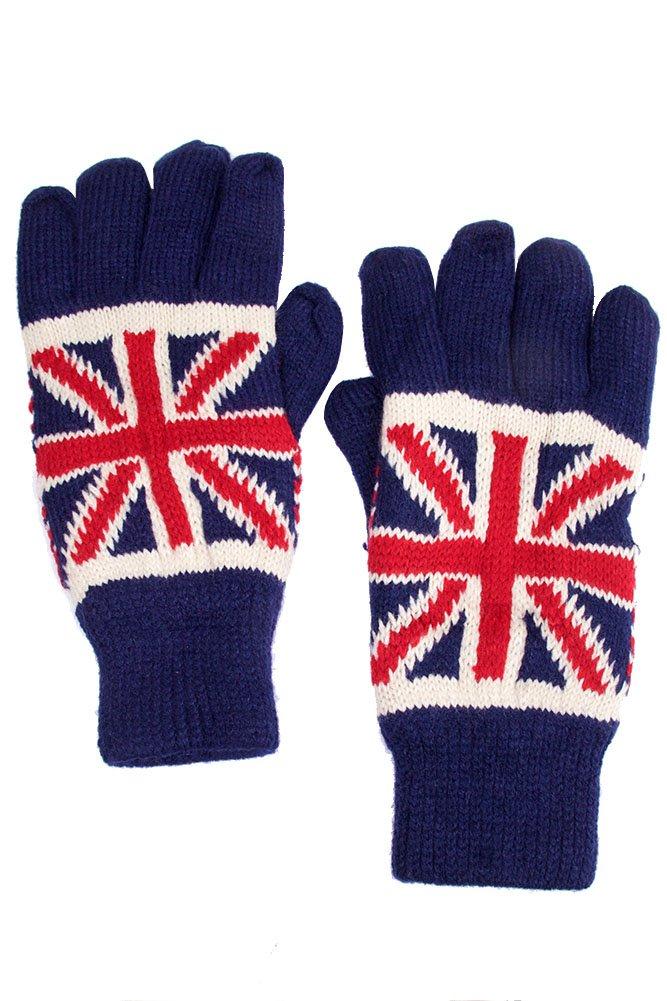 ScarvesMe Union Jack Fleece Lining Inside Warm Gloves (NAVY)