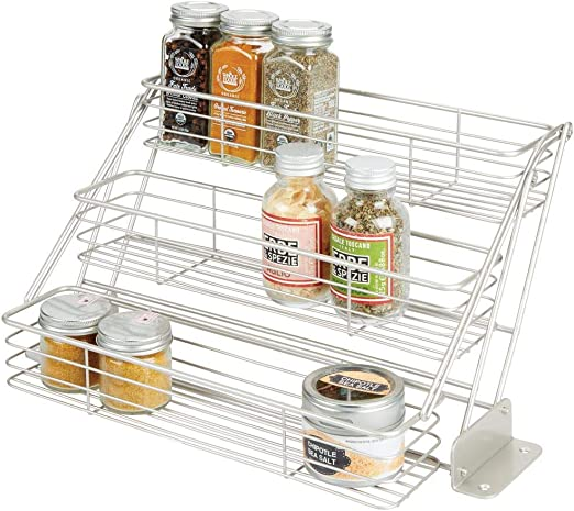 mDesign Organizador de especias para cocina con 3 niveles – Mueble ...