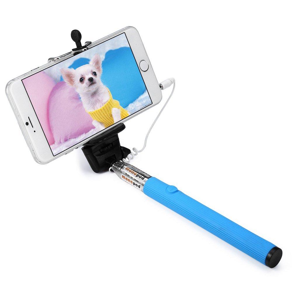 3.5mm USB Cable Connection Extendable Self Portrait Selfie Handhold Stick Monopod with Adjustable Holder (BLUE)