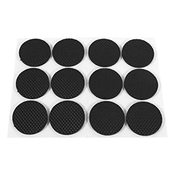 GOTOTOP 12Pcs Black Self Adhesive Floor Protectors Furniture Sofa Table Chair Rubber Feet Pad Round