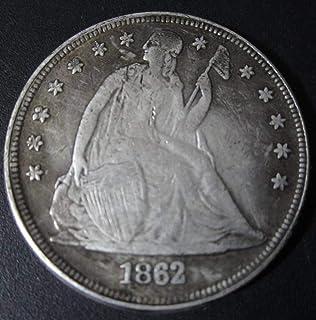 YWJHY Nucleo di Rame, Dollaro d'Argento Americano, 1862, alzando la Bandiera,Argento,Taglia Unica Dollaro d'Argento Americano
