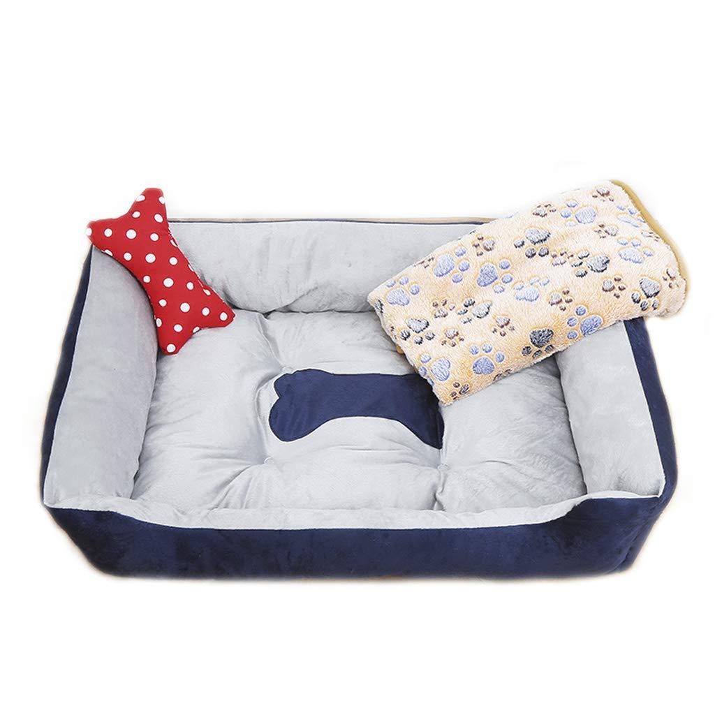 Nest Blanket Bone M(25kg) Nest Blanket Bone M(25kg) Pet Bed Pet Bed Dark bluee Rectangular Pet Nest Four Seasons Universal Small and Medium Velvet Dog Cat Litter Bed Villa Warm (color   Nest Blanket Bone, Size   M(25kg))