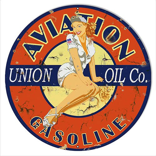 Aviation Aged Pin Up Girl Reproduction Motor Oil Sign 14