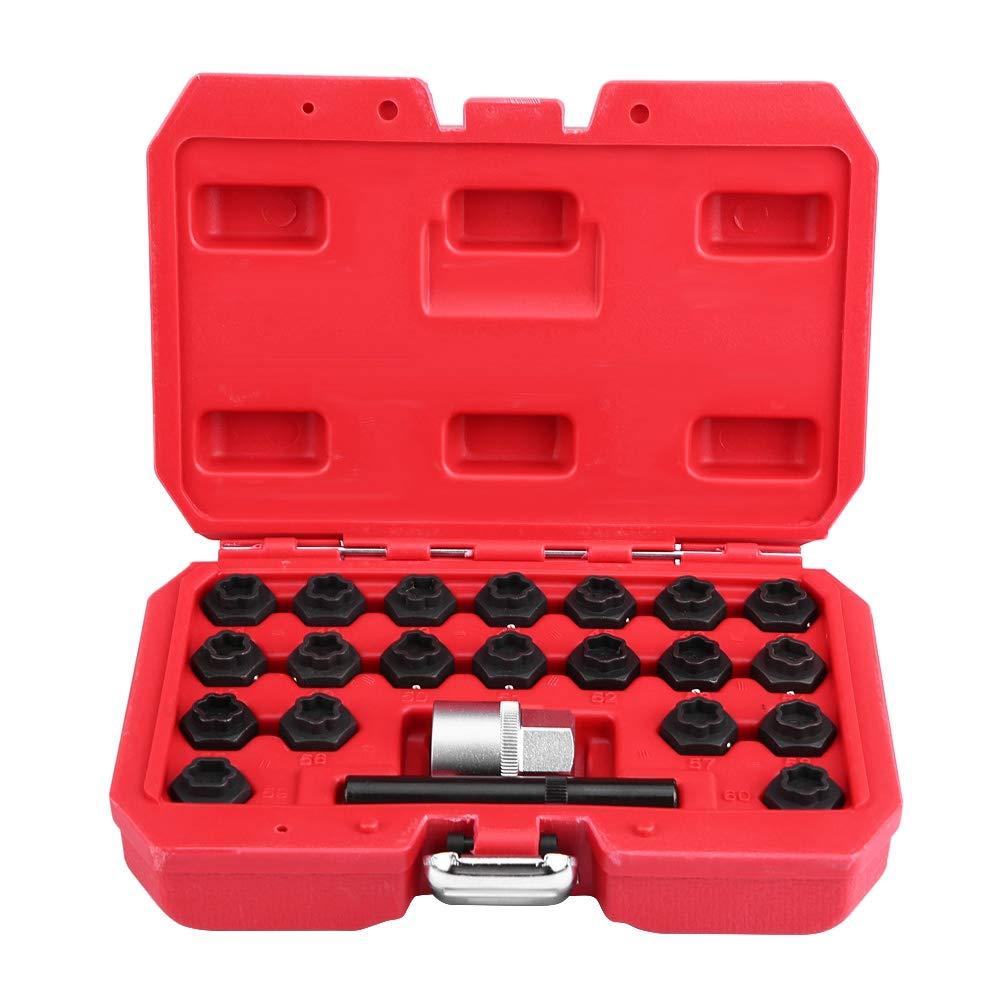 carcasa roja Llave de bloqueo de ruedas 22 piezas aleaci/ón de acero juego de llaves de tuercas de llanta funda de tornillo antirrobo
