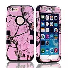 "iPhone 6s Plus Case, MIMICat Pink Realtree Camouflage Camo Hybrid Hard Soft Case Cover for iPhone 6 Plus / 6s Plus 5.5"" (Black)"