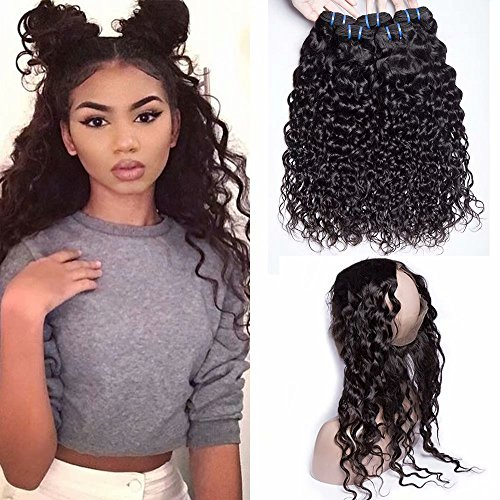 Maxine Hair 360 Lace Frontal with 3 Bundles Water Wave Unprocessed Virgin Brazilian Hair Bundles with Frontal 360 Wet and Wavy Bundles Natural Color(24 26 28 with 20 Frontal)