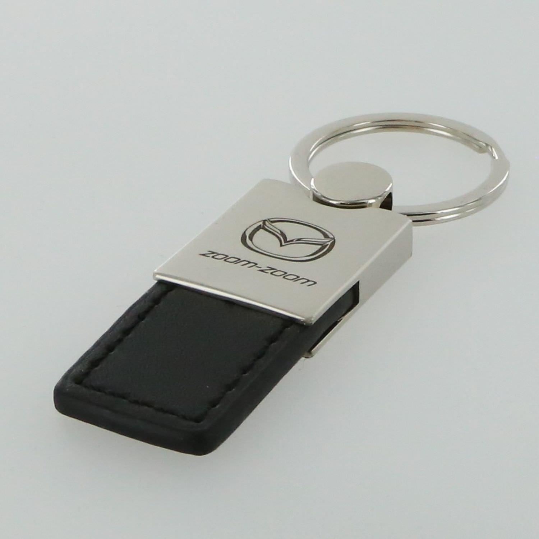 Mazda Zoom Zoom Black Leather Key Ring INC Au-Tomotive Gold