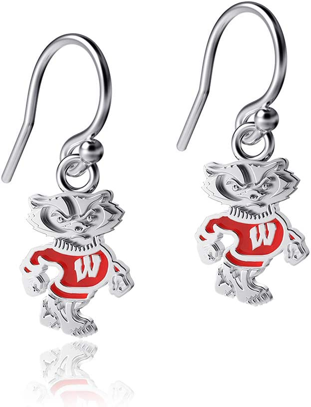 Sterling Silver Jewelry Small for Women//Girls Enamel Badger Logo Dayna Designs University of Wisconsin Dangle Earrings