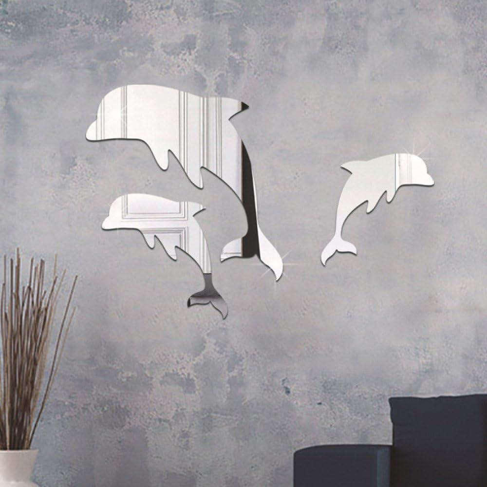 Pegatina pared vinilo decorativo acrilico efecto espejo delfines ...