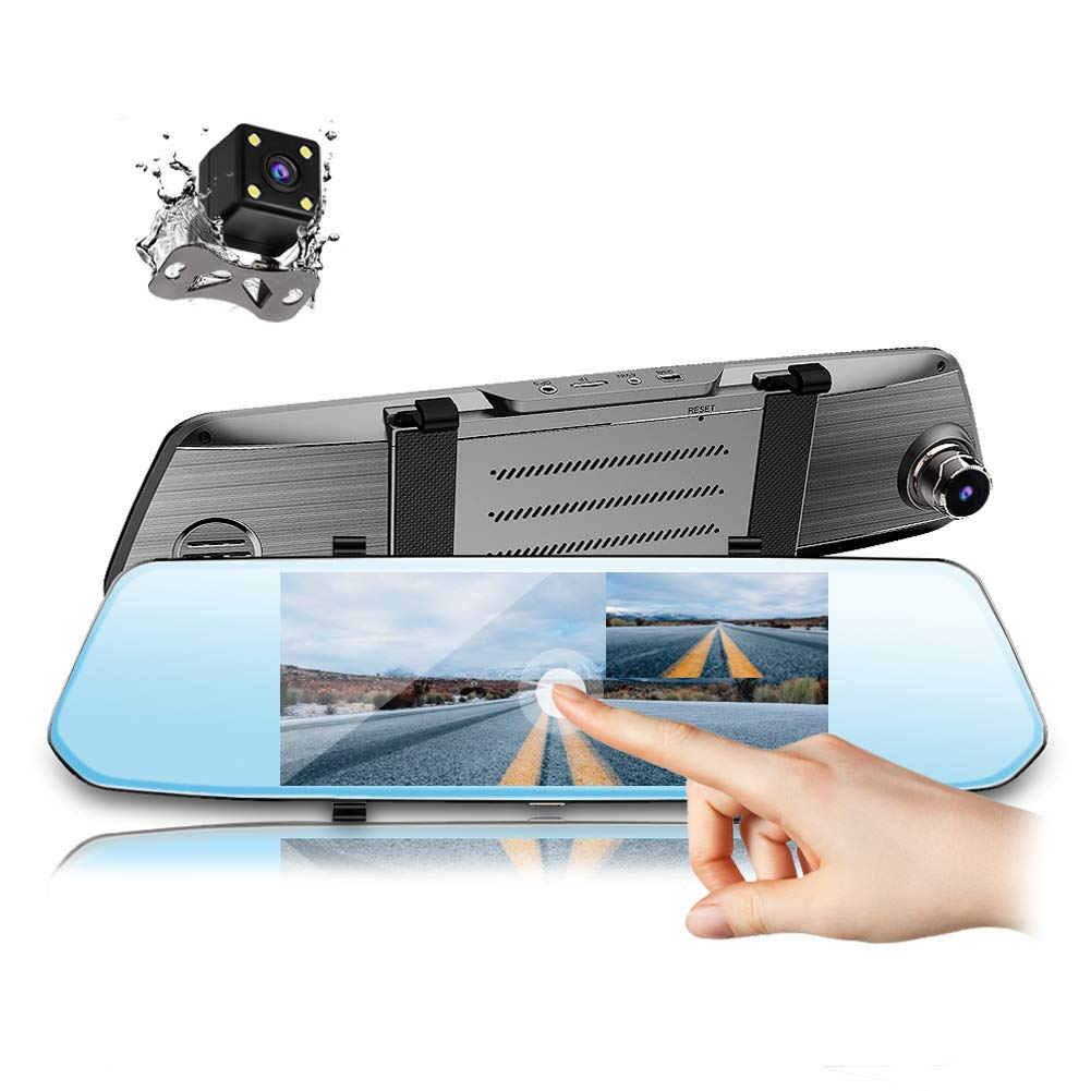 Parking Mode Backup Camera Reverse Monitor Night Vision CAIDROX 5 inch Mirror Dash Cam Touch Screen 1080P Front and Rear Dual Lens Car Camera with G Sensor