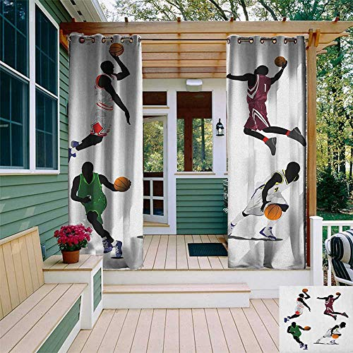 leinuoyi Sports, Outdoor Curtain Kit, Basketball Players Dribbling Dunking Floater Vibrant Colored Uniforms Sportsmanship, Outdoor Privacy Porch Curtains W72 x L96 Inch Multicolor
