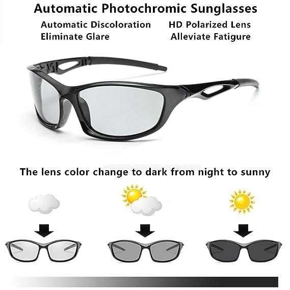 f64b602411 Amazon.com  Photochromic Sunglasses Men Women HD Polarized Sports Cycling  Glasses By Long Keeper (Bright Grey)  Clothing