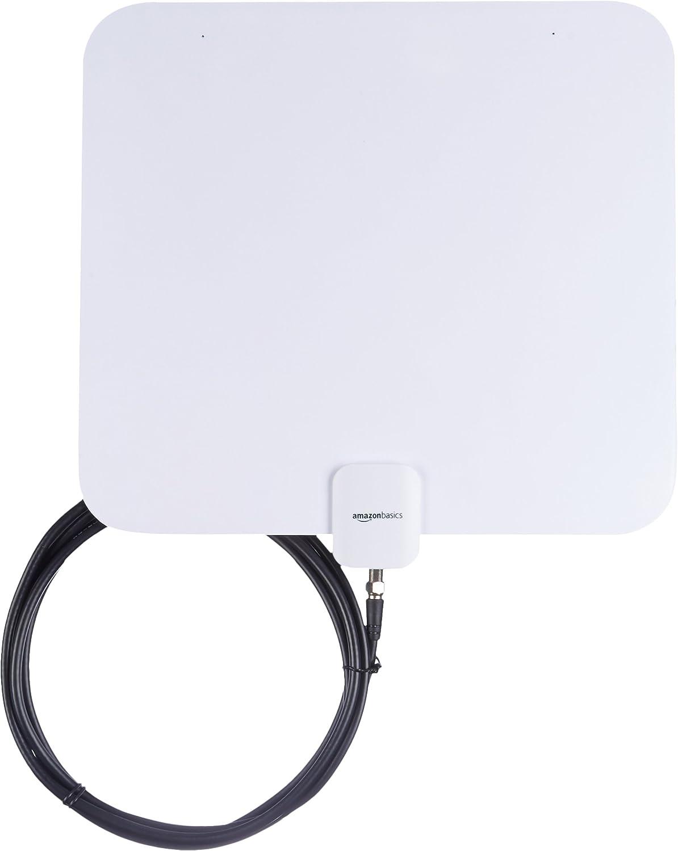 AmazonBasics - Antena plana de televisión, para interior - Rango de 56,3 km