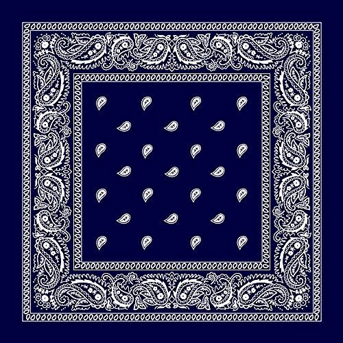 Navy Blue Paisley Bandana - Single Piece 22x22