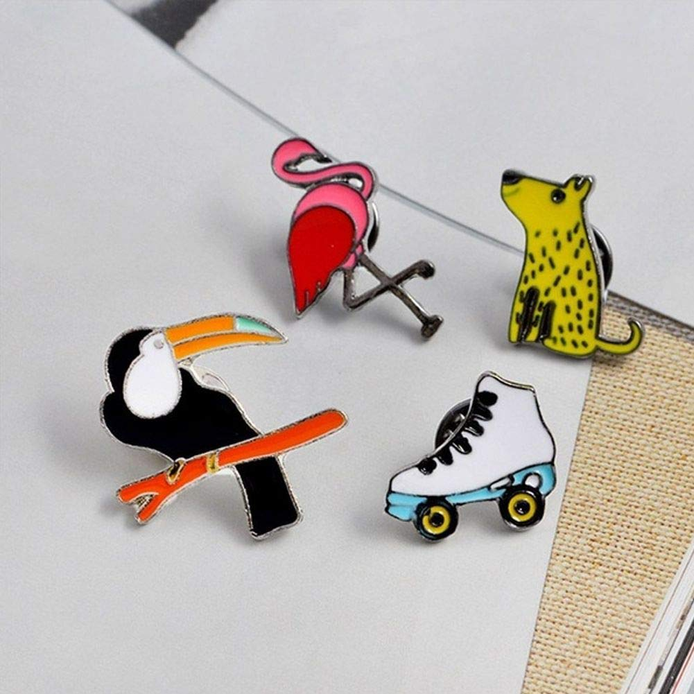 Jiacheng29 Fashion Flamingo Dog Roller Skates Shape Brooch Pin Badge Unisex Lapel Shirt Decor